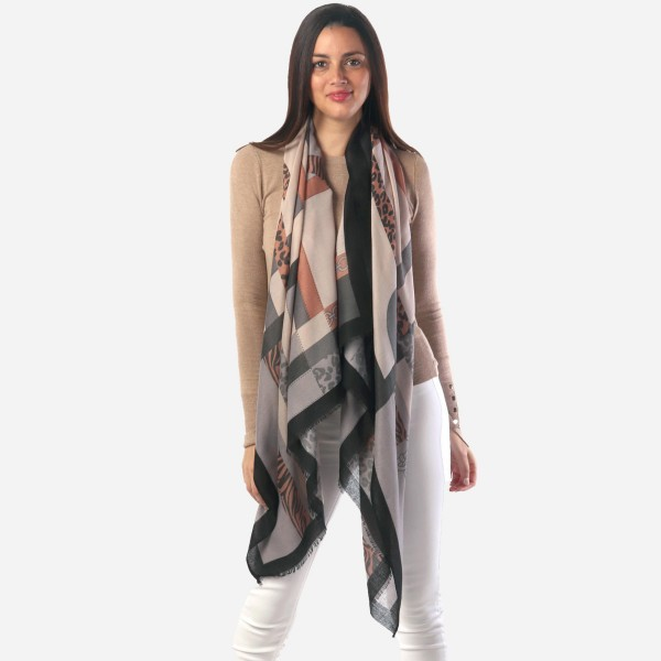 "Women's Lightweight Designer Inspired Chain Design Animal Print Scarf.  - Approximately 35"" W x 70"" L - 100% Polyester"