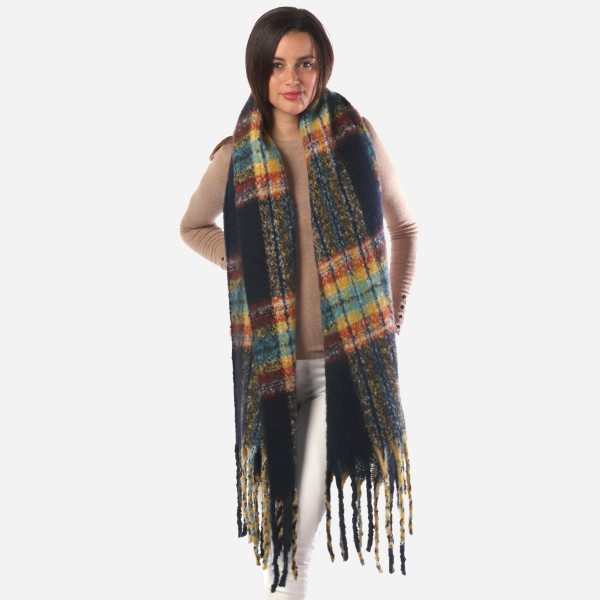"Women's Fuzzy Plaid Print Oblong Scarf Featuring Tassel Trim.  - Approximately 21"" W x 80"" L - Fringe; 8"" Long - 100% Polyester"