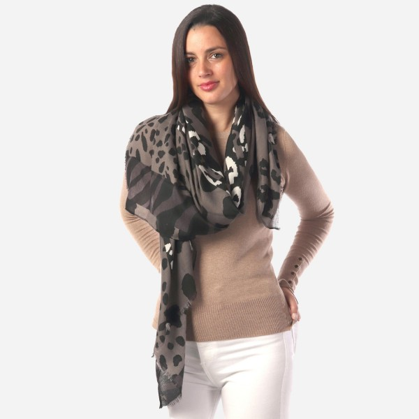 "Women's Lightweight Animal Print Scarf.  - Approximately 34"" W x 70"" L - 100% Polyester"