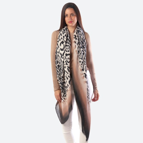 "Women's Lightweight Ombre Bordered Leopard Print Scarf.  - Approximately 35"" W x 70"" L - 100% Polyester"