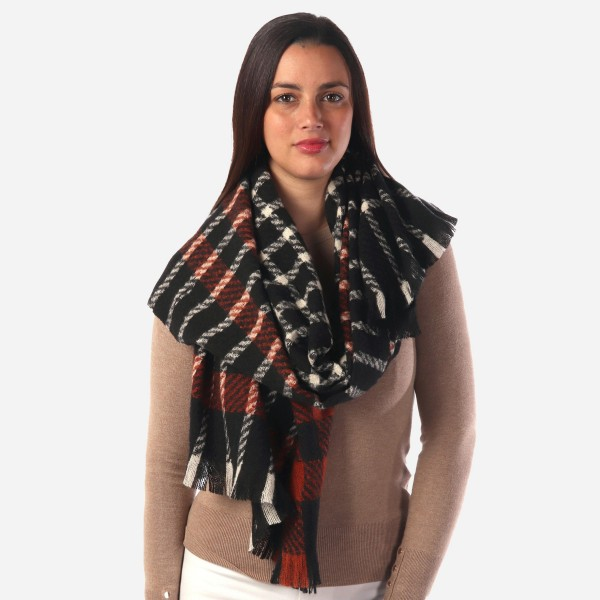Wholesale women s Heavyweight Plaid Woven Scarf W L Polyester