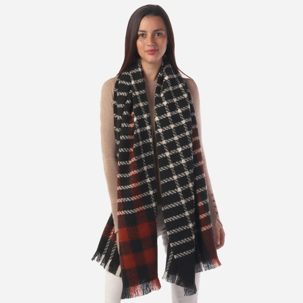 """Women's Heavyweight Plaid Woven Scarf.  - Approximately 27"""" W x 72"""" L - 100% Polyester"""