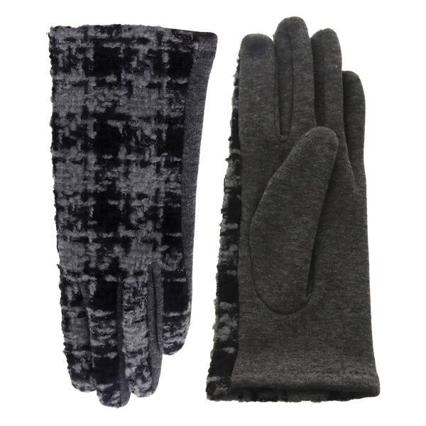 Women's Tweed Houndstooth Smart Touch Gloves.  - Touchscreen Compatible - One size fits most  - 100% Polyester
