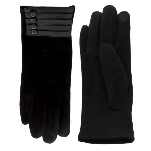 Women's Black Smart Touch Gloves Featuring Faux Leather Button Cuff Detail.  - Touchscreen Compatible - One size fits most - 100% Polyester