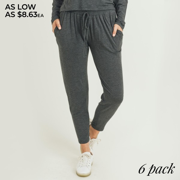 "Women's High Rise Relaxed Fit Drawstring Jogger Pants. (6 PACK)  • High rise drawstring waist • Two pockets for keeping your hands warm • Ultra-soft knit fabric with stretch • Tapered hem • Comfortable, relaxed fit • Style with your favorite tee for a laid-back look • Soft and stretchy • Comfortable for lounging at home • Imported  - Pack Breakdown: 6 Pair Per Pack - Sizes: 2-S / 2-M / 2-L - Inseam (approx) 25"" L - 95% Rayon, 5% Spandex"