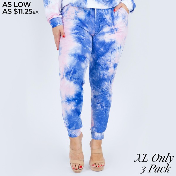 """Women's Tie-Dye Lounge Around Jogger Pants. (3 PACK)* (XL ONLY)* (PANTS ONLY)*   • Banded cuffs • Drawstring elasticize waistband • Two side pockets for keeping your hands warm • Relaxed fit • Soft and stretchy • Comfortable for lounging at home • Imported  - Pack Breakdown: 3 Pair Per Pack - Sizes: XL ONLY - Inseam approximately 26"""" L - 95% Polyester / 5% Spandex"""