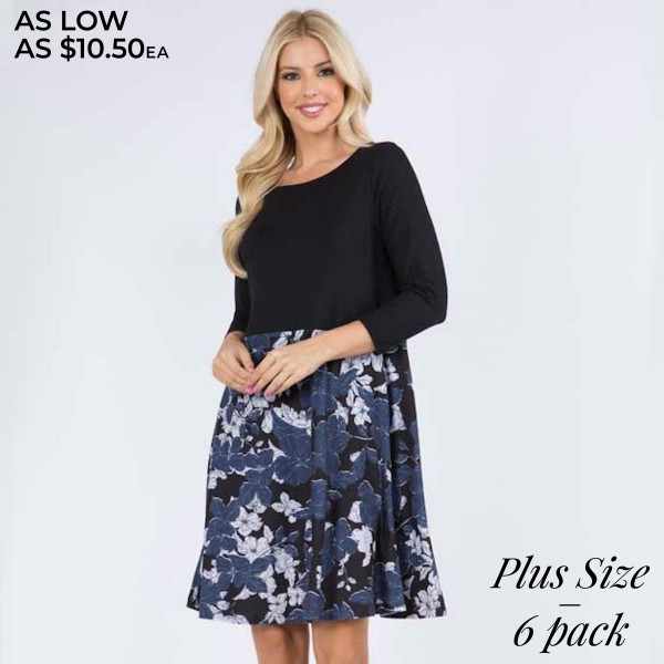 """Women's Plus Size Navy Floral A-Line Dress Featuring 3/4 Sleeves. (6 PACK)  • 3/4 length sleeves • Round neckline • Floral/solid print design • Two side pockets for keeping your hands warm • A-line silhouette • Above the knee length hem • Soft and comfortable fabric with stretch • Imported  - Pack Breakdown: 6 Dresses Per Pack - Sizes: 2-XL / 2-2XL / 2-3XL - Approximately 34"""" L  - 95% Polyester, 5% Spandex"""