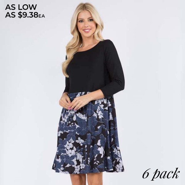 """Women's Navy Floral A-Line Dress Featuring 3/4 Sleeves. (6 PACK)  • 3/4 length sleeves • Round neckline • Floral/solid print design • Two side pockets for keeping your hands warm • A-line silhouette • Above the knee length hem • Soft and comfortable fabric with stretch • Imported  - Pack Breakdown: 6 Dresses Per Pack - Sizes: 2-S / 2-M / 2-L  - Approximately 34"""" L - 95% Polyester, 5% Spandex"""
