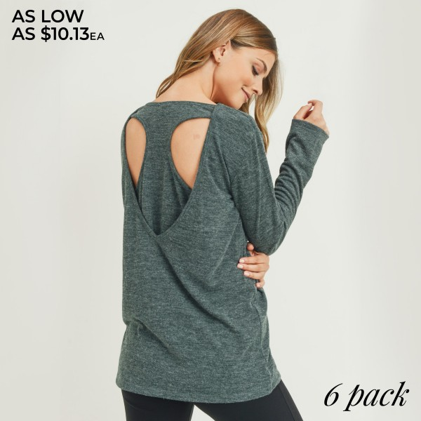Women's Heather Knit Long Sleeve Relaxed Fit Top Featuring Racerback Detail. (6 PACK)  • Long sleeves • Crew neckline • Relaxed hem • Soft, heather knit fabric with stretch • Back detailing • Pullover styling • Imported  - Pack Breakdown: 6 Tops Per Pack - Sizes: 2-S / 2-M / 2-L  - 80% Polyester, 16% Cotton, 4% Spandex