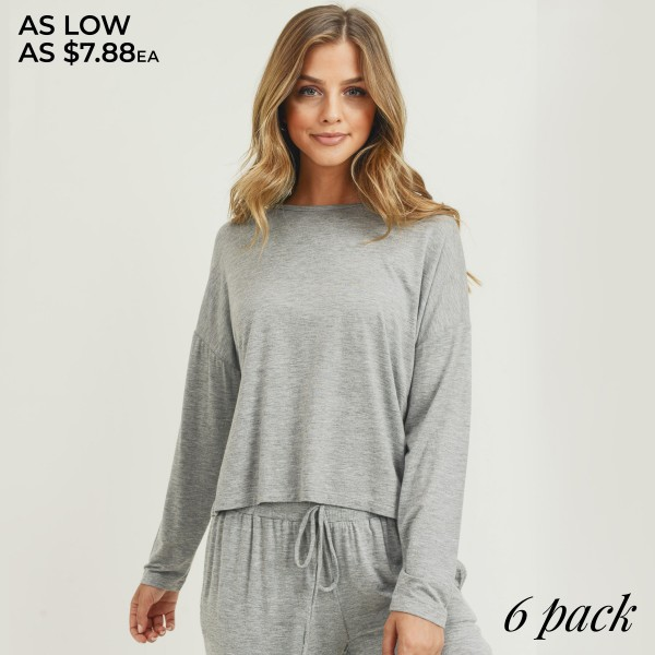 Women's Drop Shoulder Long Sleeve Relaxed Fit Top. (6 PACK) (TOP ONLY)  • Long sleeves • Crew neckline • Dropped shoulder seam detail • Relaxed fit • Soft and comfortable fabric with stretch • Perfect for styling with joggers and slides • Imported  - Pack Breakdown: 6 Tops Per Set - Sizes: 2-S / 2-M / 2-L  - 95% Rayon, 5% Spandex