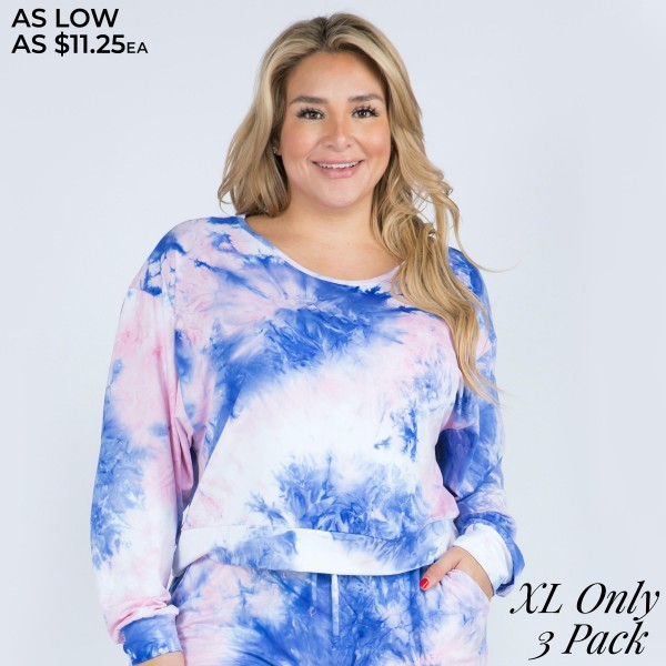 Women's Long Sleeve Lounge Around Tie-Dye Top. (3 PACK) (XL TOP ONLY) (THIS IS NOT A SET)  • Long sleeves • Round neckline • Banded cuffs and hem • Drawstring elasticize waistband • Relaxed fit • Soft and stretchy • Comfortable for lounging at home • Imported  - Pack Breakdown: 3 Tops Per Pack - Sizes: ALL XL - 95% Polyester / 5% Spandex