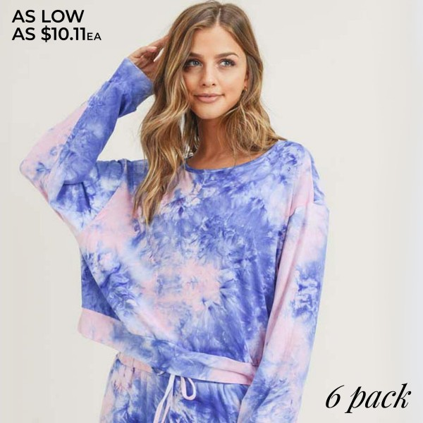 Women's Long Sleeve Lounge Around Tie-Dye Top. (6 PACK) (TOP ONLY)  • Long sleeves • Round neckline • Banded cuffs and hem • Relaxed fit • Soft and stretchy • Comfortable for lounging at home • Imported  - Pack Breakdown: 6 Tops Per Pack - Sizes: 2-S / 2-M / 2-L  - 95% Polyester / 5% Spandex