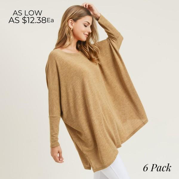 Wholesale women s Oversized Dolman Sleeve Tunic Top PACK o Round neckline o Drop