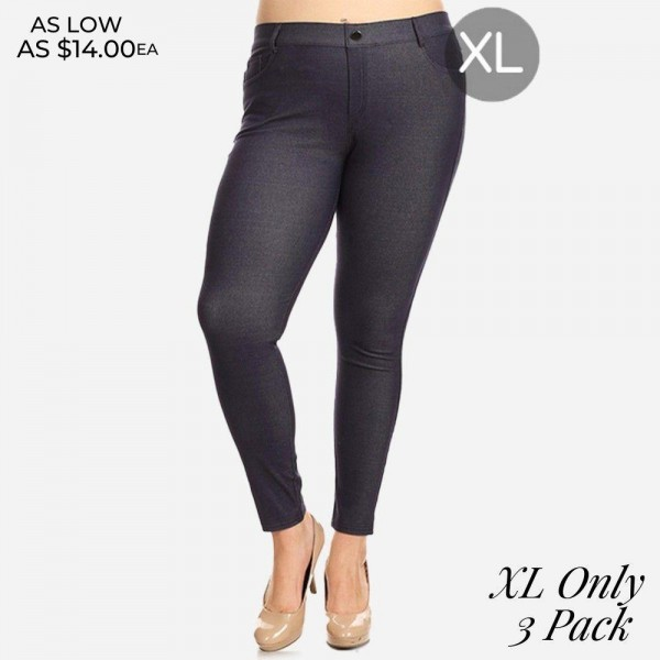 """Women's XL Classic Denim Style Skinny Jeggings. (3 Pack) (XL ONLY)  • Full length jeggings featuring a light sheen and jean-style construction • Lightweight, breathable cotton-blend material for all day comfort • Belt loops with 5 functional pockets • Shake Head Button • Super Stretchy • Pull up Style  - 3 Pair Per Pack - Sizes: ALL 3 - XL ONLY - Inseam (approx) 26"""" L - 70% Cotton / 25% Polyester / 5% Spandex"""