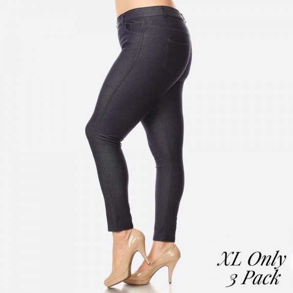 "Women's XL Classic Denim Style Skinny Jeggings. (3 Pack) (XL ONLY)  • Full length jeggings featuring a light sheen and jean-style construction • Lightweight, breathable cotton-blend material for all day comfort • Belt loops with 5 functional pockets • Shake Head Button • Super Stretchy • Pull up Style  - 3 Pair Per Pack - Sizes: ALL 3 - XL ONLY - Inseam (approx) 26"" L - 70% Cotton / 25% Polyester / 5% Spandex"