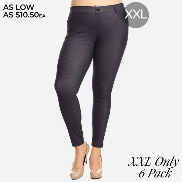 """Women's Plus Size Classic Denim Style Jeggings. (6 PACK) (XXL ONLY)   • Full length jeggings featuring a light sheen and jean-style construction • Lightweight, breathable cotton-blend material for all day comfort • Belt loops with 5 functional pockets • Shake Head Button • Super Stretchy • Pull up Style  - Pack Breakdown: 6 Pair Per Pack - Sizes: XXL ONLY - Inseam (approx) 26"""" L - 70% Cotton / 25% Polyester / 5% Spandex"""