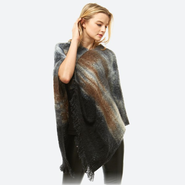 """Women's Boucle Knit Tie-Dye Poncho Featuring Fringe Tassel Trim.  - One size fits most 0-14 - Approximately 37"""" L - 100% Polyester"""