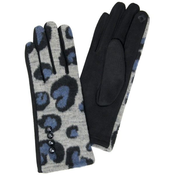 Wholesale furry Knit Leopard Print Smart Touch Gloves Touchscreen Compatible One