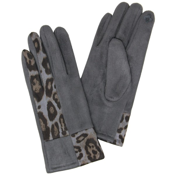 Faux Suede Leopard Print Block Smart Touch Gloves.  - Touchscreen Compatible  - One size fits most - 90% Polyester, 10% Nylon