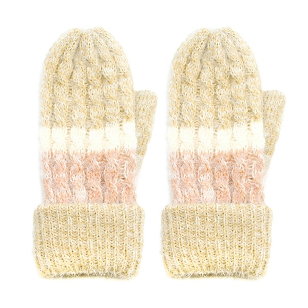 Fleece Lined Cable Knit Coloblock Mittens.  - One size fits most - 50% Acrylic / 50% Nylon
