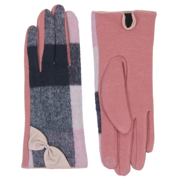 Enlarged Pink Plaid Print Smart Touch Gloves Featuring PU Bow Cuff Detail.  - Touchscreen Compatible - One size fits most - 60% Cotton / 40% Polyester