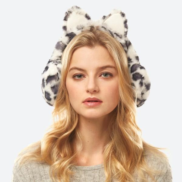 Faux Fur Leopard Print Cat Earrmuffs.  - Adjustable Band - Cat Ear's Style - Faux Fur  - Leopard Print - One size fits most - 100% Polyester