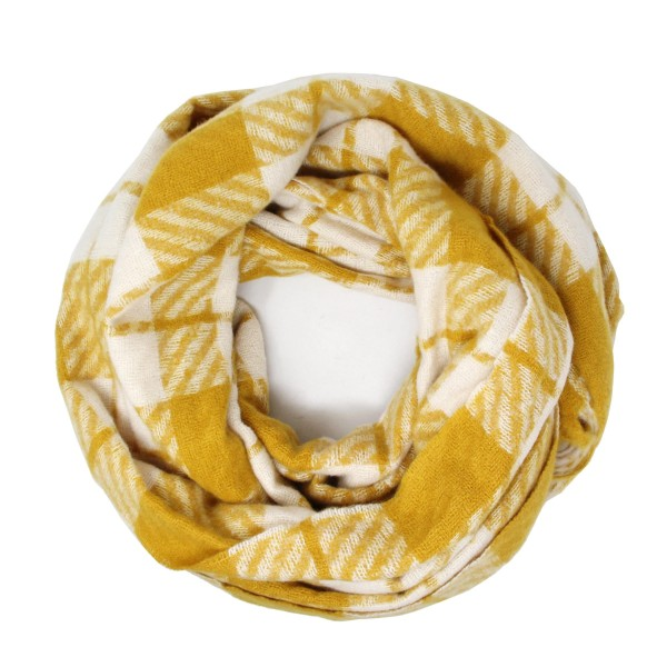 """Plaid Print Knit Infinity Scarf.  - Approximately 26"""" W x 70"""" L - 100% Polyester"""