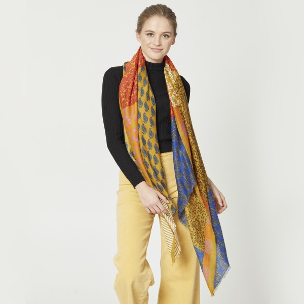 """Do everything in Love Brand Lightweight Geometric Multi-Print Scarf.  - Approximately 35"""" W x 70"""" L - 100% Polyester"""