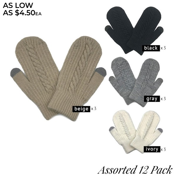 Do everything in Love Brand Assorted Knitted Mittens (12 pack)  - One size fits most - 12 Pair Individually Packed Per Pack - 5 Assorted Colors - 3 Black / 3 Grey / 3 Beige / 3 Ivory - 100% Acrylic