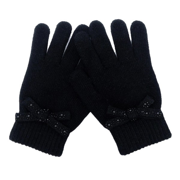 Do everything in Love Brand gloves featuring a decorative bow with metallic accents.   - One size fits most - 93% Acrylic / 7% Rabbit