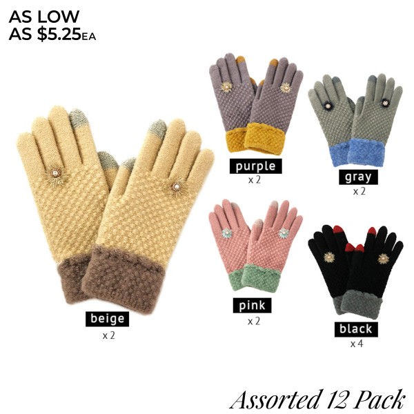 Do everything in Love Brand Assorted Smart Touch Knit Gloves Featuring Flower Accent. (12 Pack)  - Touchscreen Compatible - One size fits most  - 12 Pair Individually Packed Per Pack - 5 Assorted Colors - 4-Black / 2-Grey / 2-Beige / 2-Pink / 2-Purple - 100% Acrylic