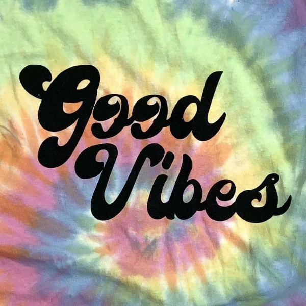 Good Vibes Tie-Dye Graphic Tee.  - Size: LARGE - Color: Tie-Dye - Tee Brand: Colortone - 100% Cotton