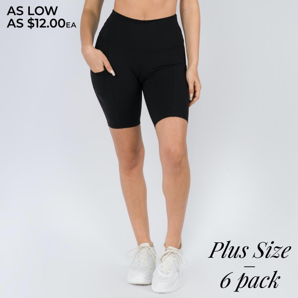 "Women's Plus Size Active Buttery Soft Biker Short Featuring Pockets.  • Flattening elasticized waistband with interior pocket • Side pocket holds a phone, keys, cash • Ultra-soft, buttery fabrication • Squat proof design • Flattering seams enhance curves • 4-way stretch for a move-with-you feel • Triangle crotch gusset eliminates camel toe • Stretchy and comfortable • Flat lock seams prevents chafing • Fits like a glove • Perfect for all low-high impact workouts • Double inner leg seams for zero bagginess • Stretchy and comfortable • Imported   - Pack Breakdown: 6 Pair of Shorts Per Pack - Sizes: 3-XL / 2-2XL / 1-3XL - Inseam (approx) 9""  - 75% Nylon / 25% Spandex"