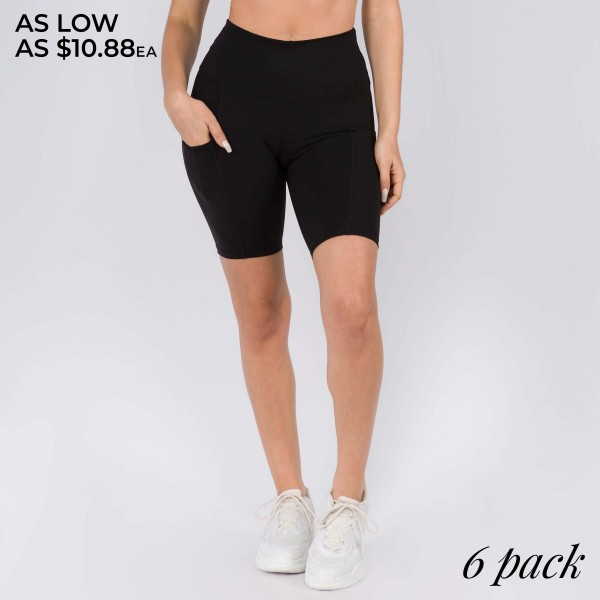 "Women's Active Buttery Soft Biker Shorts Featuring Side Pockets.  • Flattening elasticized waistband with interior pocket • Side pocket holds a phone, keys, cash • Ultra-soft, buttery fabrication • Squat proof design • Flattering seams enhance curves • 4-way stretch for a move-with-you feel • Triangle crotch gusset eliminates camel toe • Stretchy and comfortable • Flat lock seams prevents chafing • Fits like a glove • Perfect for all low-high impact workouts • Double inner leg seams for zero bagginess • Stretchy and comfortable • Imported  - Pack Breakdown: 6 Pair of Shorts Per Pack -  Sizes: 2-S / 2-M / 2-L - Inseam (approx) 9"" L - 75% Nylon, 25% Spandex"