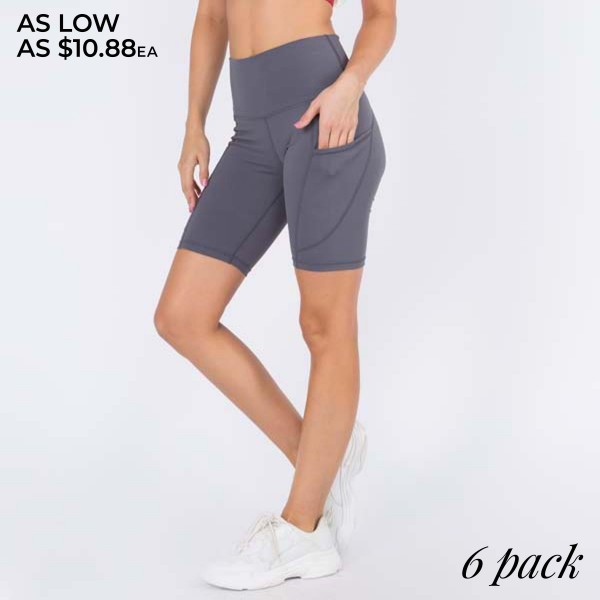 """Women's Active Buttery Soft Biker Shorts Featuring Side Pockets.  • Flattening elasticized waistband with interior pocket • Side pocket holds a phone, keys, cash • Ultra-soft, buttery fabrication • Squat proof design • Flattering seams enhance curves • 4-way stretch for a move-with-you feel • Triangle crotch gusset eliminates camel toe • Stretchy and comfortable • Flat lock seams prevents chafing • Fits like a glove • Perfect for all low-high impact workouts • Double inner leg seams for zero bagginess • Stretchy and comfortable • Imported  - Pack Breakdown: 6 Pair of Shorts Per Pack -  Sizes: 2-S / 2-M / 2-L - Inseam (approx) 9"""" L - 75% Nylon, 25% Spandex"""