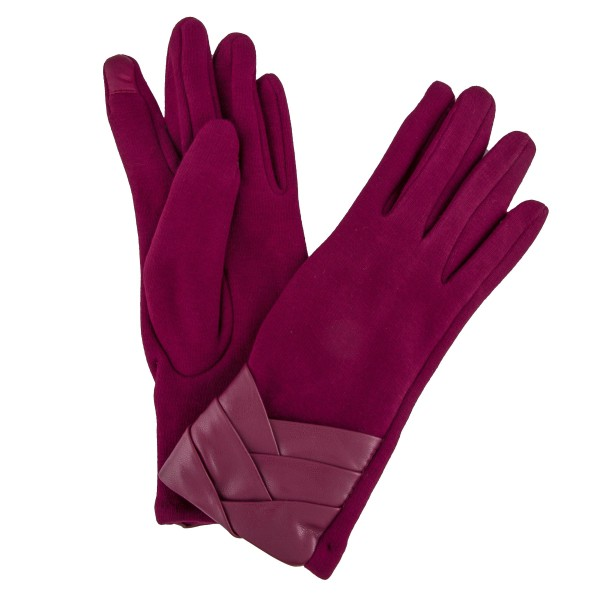 Faux Fur Lined Cotton Knit Smart Touch Gloves Featuring Faux Leather Cuff Detail.  - Touchscreen Compatible - One size fits most - 100% Polyester