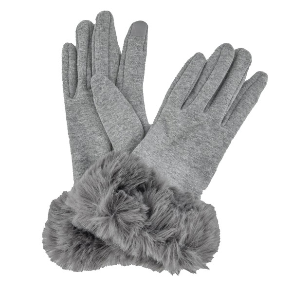 Faux Fur Lined Cotton Knit Smart Touch Gloves Featuring Faux Fur Cuff.  - Touchscreen Compatible - One size fits most - 100% Polyester