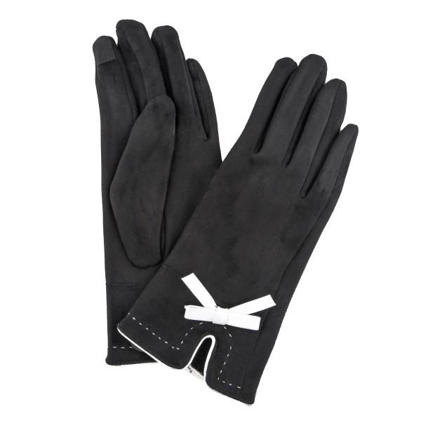 Suede Like Smart Touch Gloves Featuring Faux Leather Bow Detail.  - Touchscreen Compatible - One size fits most - 100% Polyester