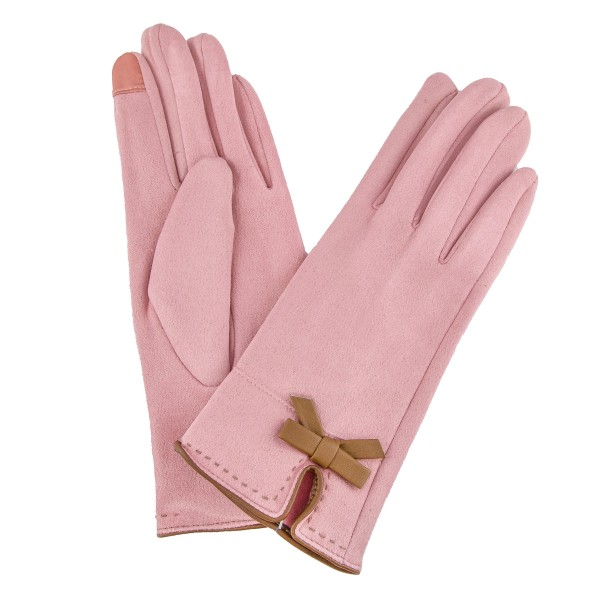 Wholesale suede Like Smart Touch Gloves Faux Leather Bow Detail Touchscreen Comp