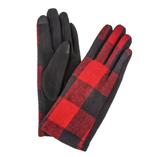 Buffalo Check Smart Touch Gloves.  - Touchscreen Compatible  - One size fits most - 100% Polyester