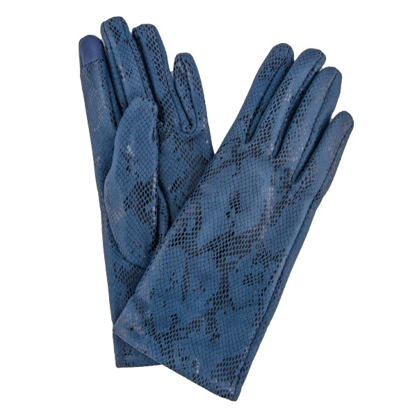 Solid Color Velvet Lined Snakeskin Smart Touch Gloves.  - Touchscreen Compatible  - One size fits most - 100% Polyester