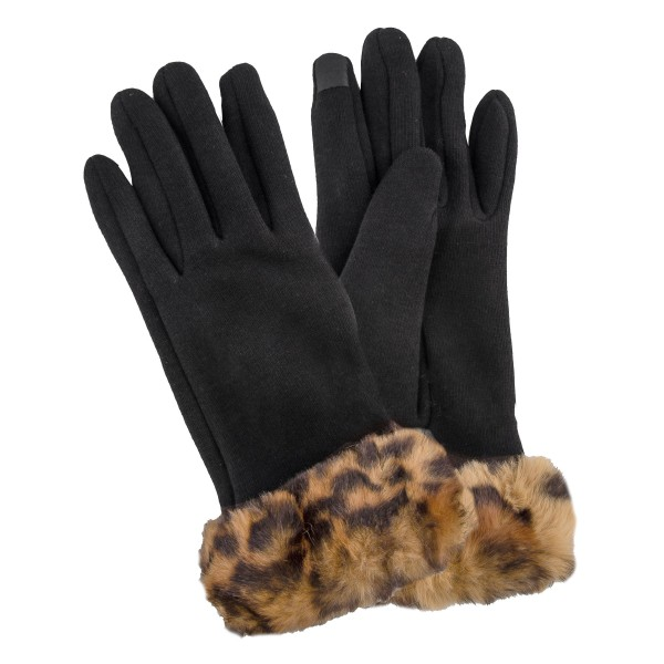 Faux Fur Lined Cotton Knit Smart Touch Gloves Featuring Leopard Print Faux Fur Cuff.  - Touchscreen Compatible - One size fits most - 100% Polyester