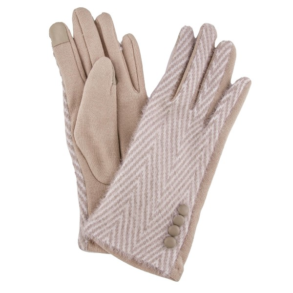 Herringbone Knit Smart Touch Gloves Featuring Button Details.  - Touchscreen Compatible - One size fits most - 100% Polyester
