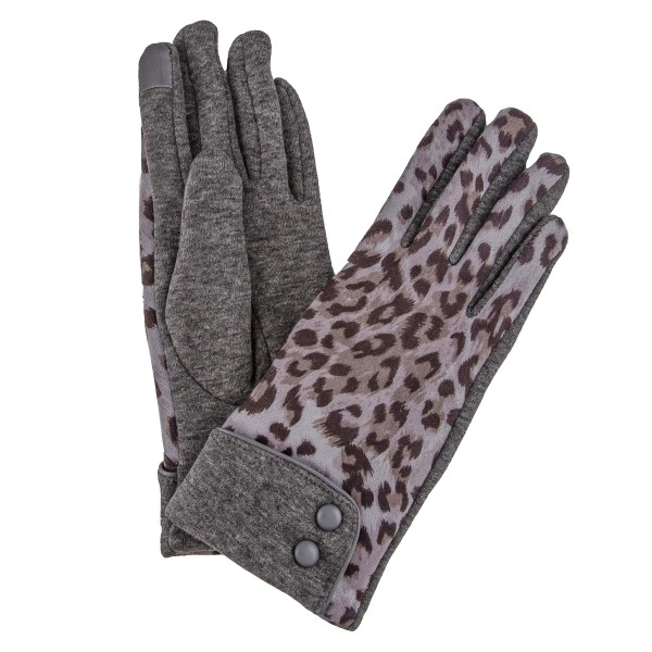Leopard Print Cotton Knit Smart Touch Gloves Featuring Button Cuff Detail.  - Touchscreen Compatible  - One size fits most - 100% Polyester