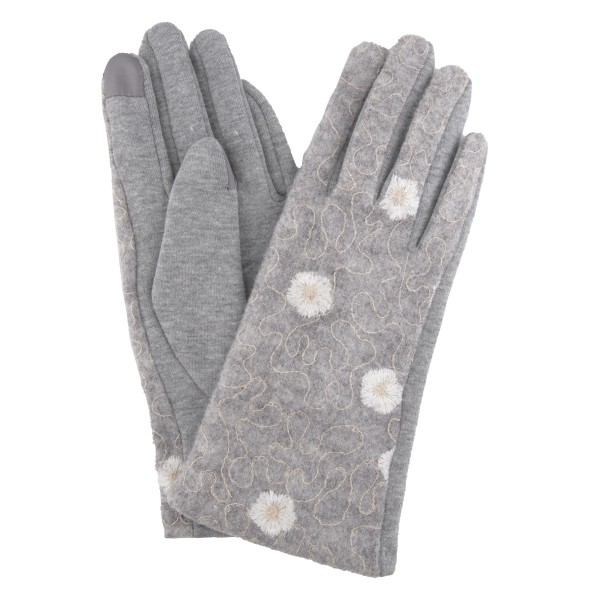 Flower Embroidered Knit Smart Touch Gloves.  - Touchscreen Compatible - One size fits most - 100% Polyester