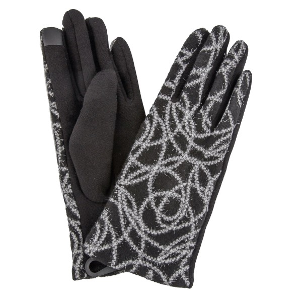 Fuzzy Woven Knit Design Smart Touch Gloves.  - Touchscreen Compatible - One size fits most - 100% Polyester