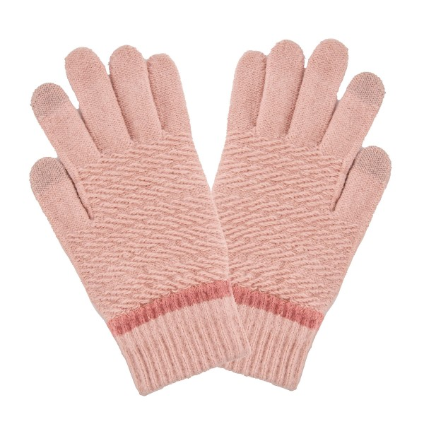 Wholesale fleece Lined Cable Knit Smart Touch Gloves Touchscreen Compatible One