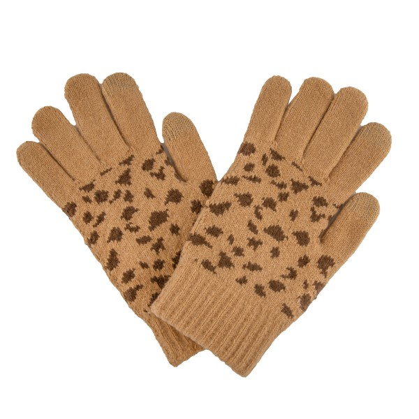 Leopard Print Knit Smart Touch Gloves.  - Touchscreen Compatible - One size fits most - Body: 98% Polyester / 1% Rubber / 1% Spandex - Fingers: 80% Acrylic / 12% Metal / 1% Spandex / 7% Other Fibers