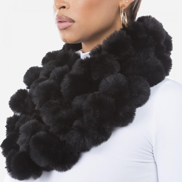 "Faux Fur Pom Pom Ball Infinity Scarf.  - Approximately 4"" W x 56"" L - 93% Polyester / 7% Olefin"