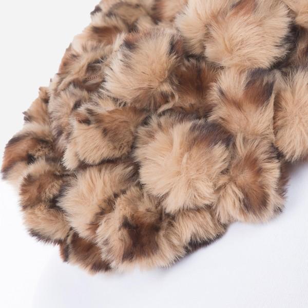 """Faux Fur Leopard Print Pom Pom Ball Infinity Scarf.  - Approximately 4"""" W x 56"""" L - 93% Polyester / 7% Olefin"""